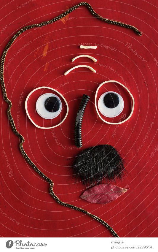 Emotionen...coole Gesichter: Der Denker Mensch maskulin Mann Erwachsene Auge 1 alt rot schwarz weiß Gefühle Nervosität verstört Schüchternheit Philosoph Denken