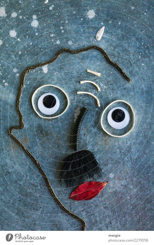 Emotionen...coole Gesichter: Pechvogel Mensch maskulin Mann Erwachsene Auge Nase Mund 1 Kunst Künstler blau grau rot demütig Erfahrung Irritation