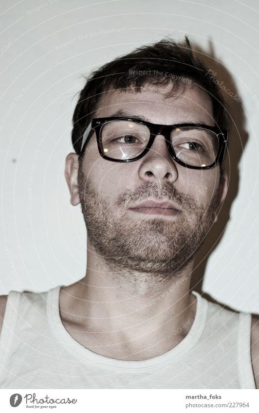 brille two Lifestyle Design maskulin Mann Erwachsene 1 Mensch 18-30 Jahre Jugendliche Unterwäsche Brille schwarzhaarig Bart Dreitagebart Coolness schön trashig