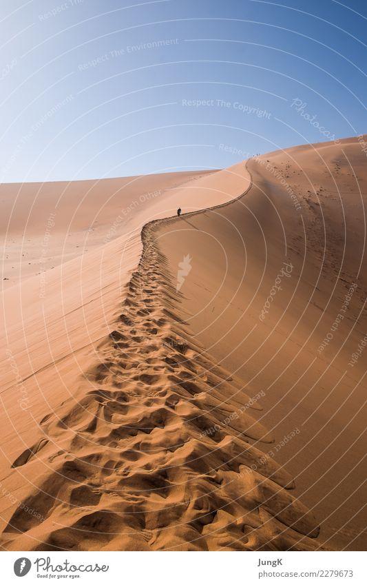 Aufwärts Ferien & Urlaub & Reisen Tourismus Ferne Freiheit Expedition Natur Landschaft Sand Wärme Wüste Namibia Afrika Fußspur wandern selbstbewußt Erfolg Kraft