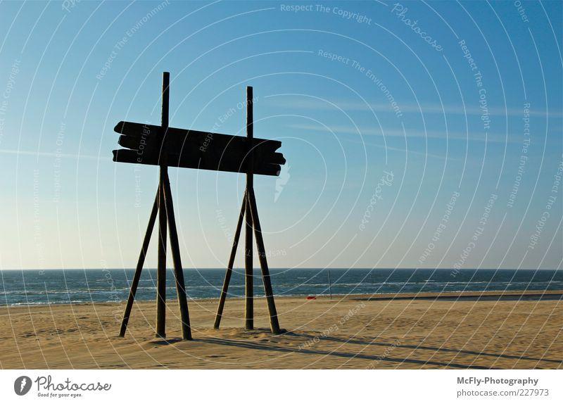 Get me to the Beach blau Sommer Freude Strand Meer Ferne Holz Glück Küste braun Zufriedenheit Wellen Horizont Schilder & Markierungen Fröhlichkeit Warmherzigkeit