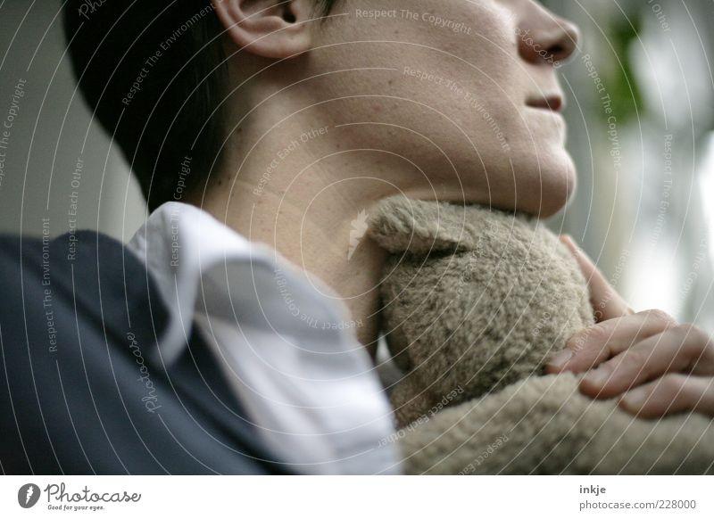 treuer Freund Wohlgefühl Frau Erwachsene Mutter Leben Kinn Teddybär Stofftiere festhalten träumen Traurigkeit Umarmen Zusammensein kuschlig Gefühle Stimmung