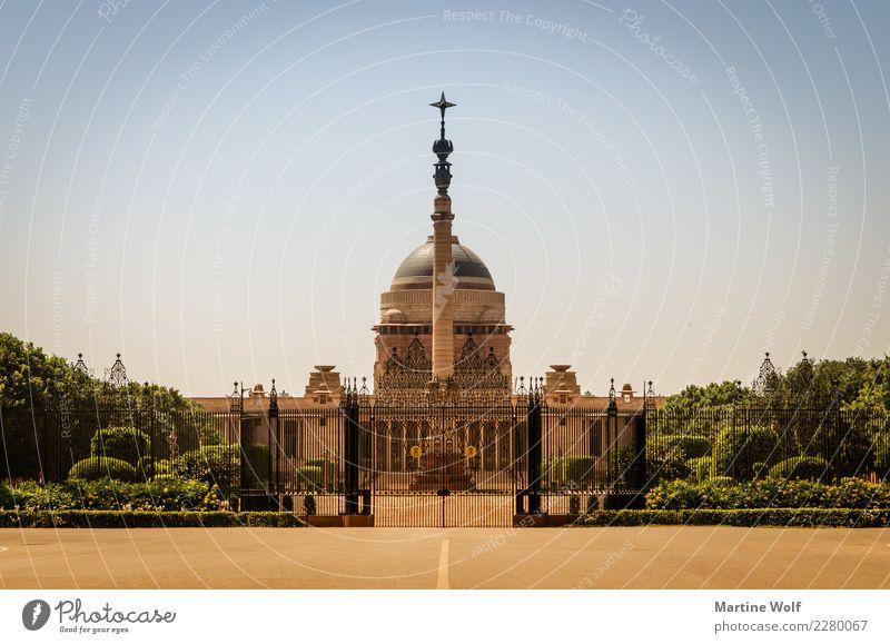 Rashtrapati Bhavan Wolkenloser Himmel Neu Delhi Indien Asien Menschenleer Palast Bauwerk Gebäude Architektur Sehenswürdigkeit Ferien & Urlaub & Reisen Symmetrie