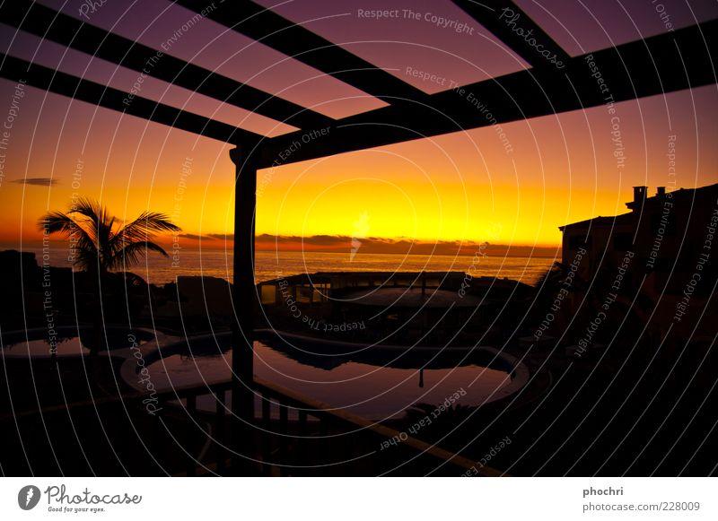 Urlaubsfeeling Himmel Wasser schön Ferien & Urlaub & Reisen Sommer Meer ruhig Ferne gelb Erholung Horizont gold Tourismus Schwimmbad violett Schönes Wetter