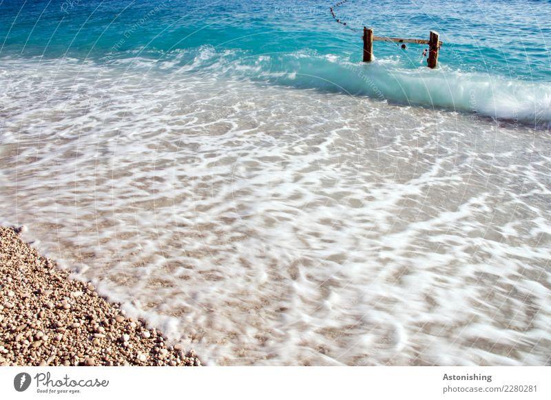 das Meer Natur Ferien & Urlaub & Reisen blau Sommer Wasser weiß Strand schwarz Umwelt Küste Holz Sand Wetter Wellen Schönes Wetter