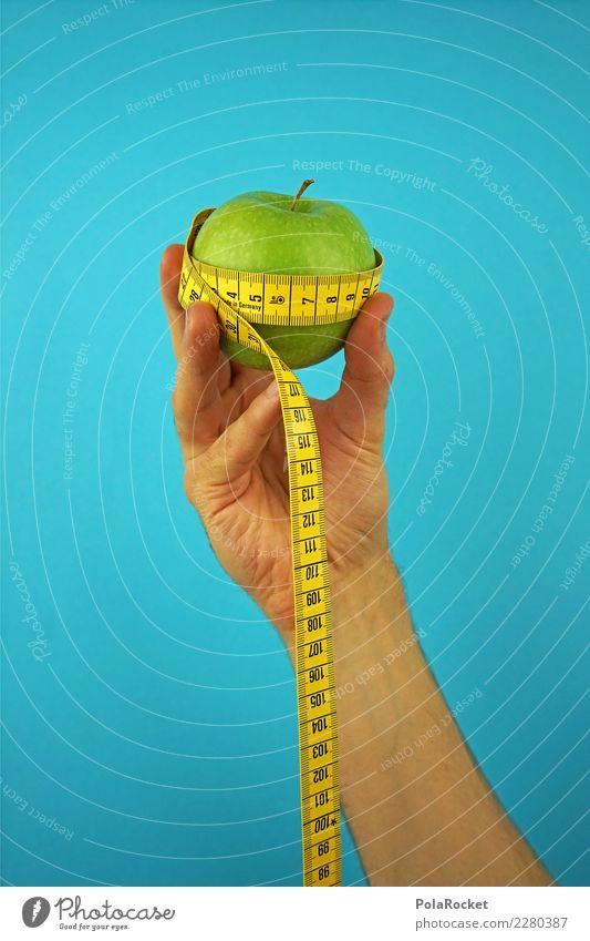 #AS# Fitness I Leben Essen Apfel Maßband Hand blau grün Gesunde Ernährung Diät Bioprodukte Vorsätze messen Finger Bewegung Gesundheit Frucht Farbfoto