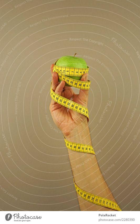#AS# Fitness III Sport-Training Essen Apfel Maßband Hand grün gelb Ziffern & Zahlen messen Diät Frucht beige Fitness-Center Ernährung umwickelt Fett dick dünn
