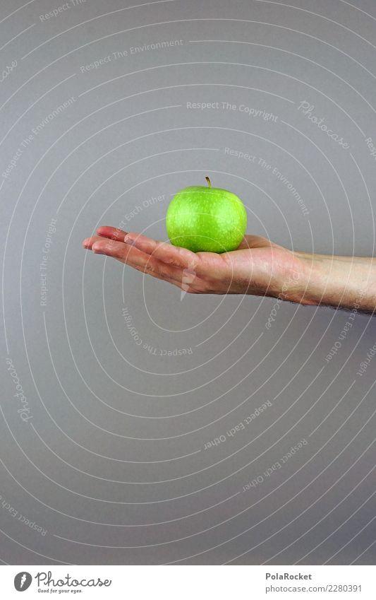 #AS# Der Apfel fällt... Kunst ästhetisch Apfelbaum Apfelernte Apfelschale grün Hand tragen festhalten Farbfoto mehrfarbig Innenaufnahme Studioaufnahme