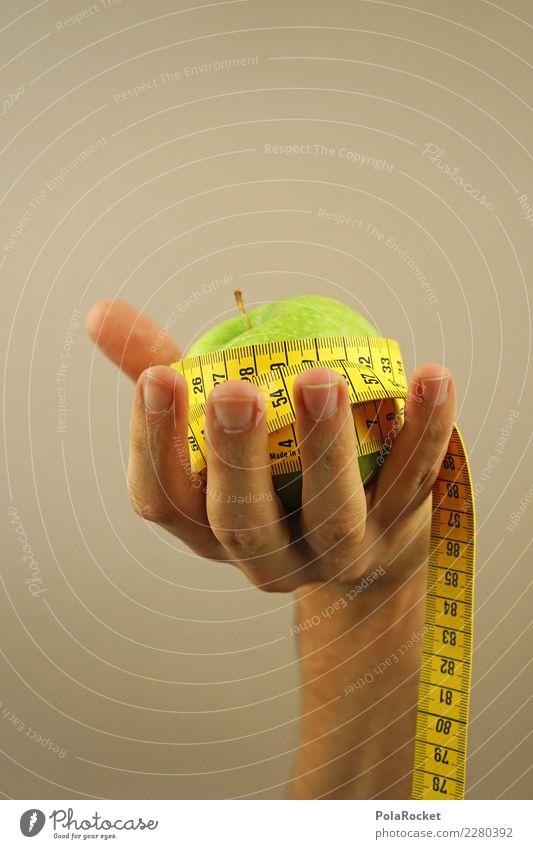 #AS# Fitness IV Sport-Training Essen Apfel Maßband Hand Gesunde Ernährung Fitness-Center beige grün gelb Ziffern & Zahlen Diät Vorsätze messen Finger Bewegung