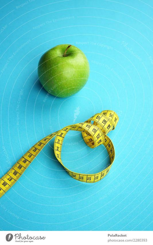 #AS# Fitness II Sport-Training Essen Maßband gelb blau grün Apfel Gesunde Ernährung Diät Gewicht Bioprodukte messen Vorsätze Gesundheit Frucht Ziffern & Zahlen
