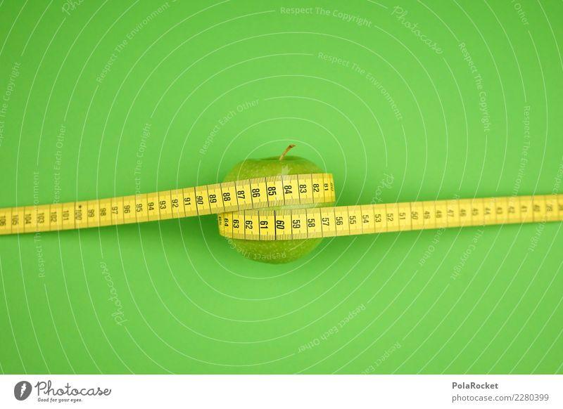 #AS# Apfelmaß Fitness Sport-Training Essen grün Maßband gelb Gesundheit Gesunde Ernährung messen Diät Bioprodukte Vorsätze Frucht umwickelt Größe Gewicht