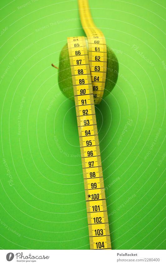 #AS# Apfelnehmen Fitness Sport-Training Essen grün Maßband Ziffern & Zahlen gelb Gesundheit Gesunde Ernährung messen Bewegung Lebensmittel Vorsätze Bioprodukte
