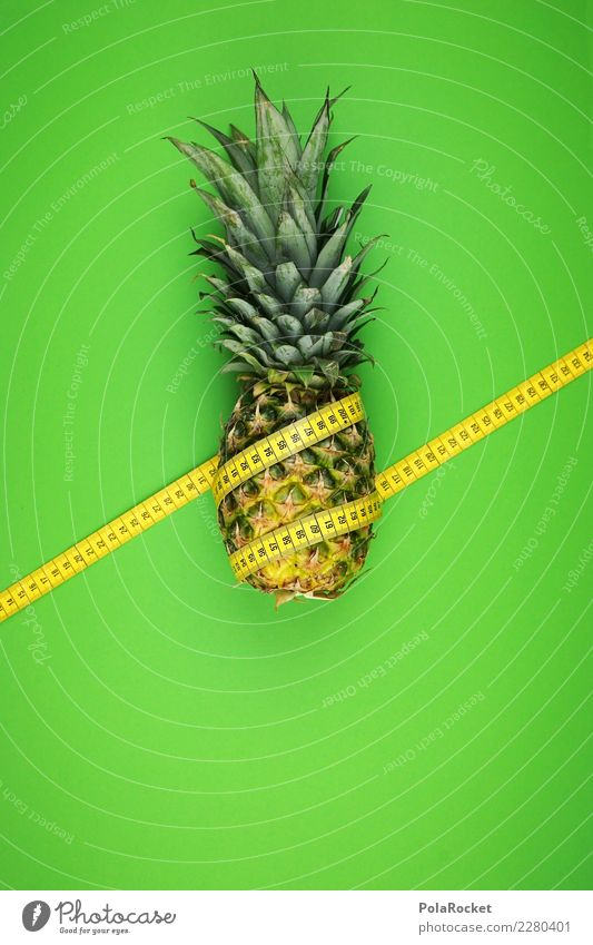 #AS# schief gewickelt Fitness Sport-Training Diät Ananas Maßband messen gelb grün 2 Streifen Ziffern & Zahlen exotisch Vitamin Frucht Südfrüchte Bombe Länge
