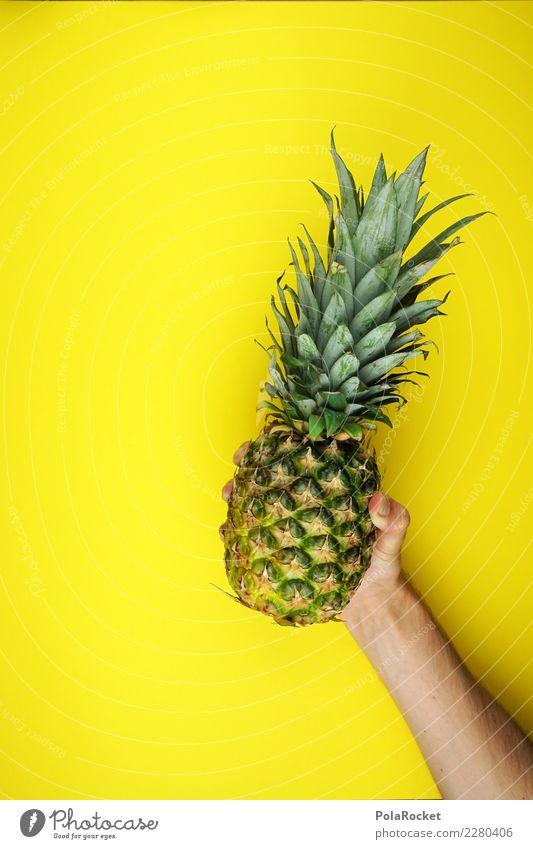 #AS# Ananas Trophäe Gesunde Ernährung grün Hand Essen gelb Gesundheit Frucht süß Fitness stoppen dünn dick Sport-Training Diät werfen Vitamin