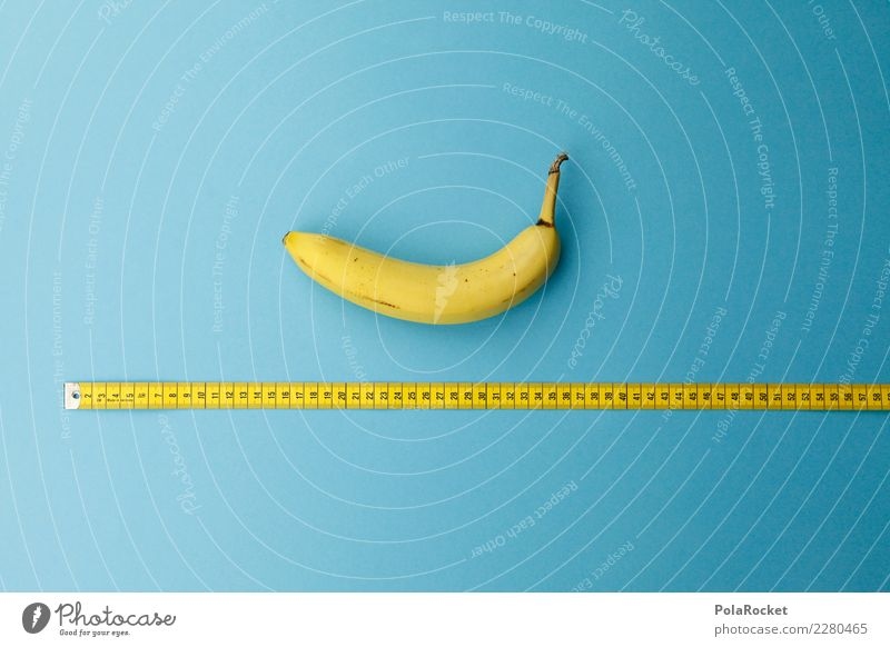 #AS# Auf die Länge ... Fitness Sport-Training Essen Banane Frucht Maßband gelb blau Größe messen Diät Ernährung Gesunde Ernährung Vitamin Ziffern & Zahlen