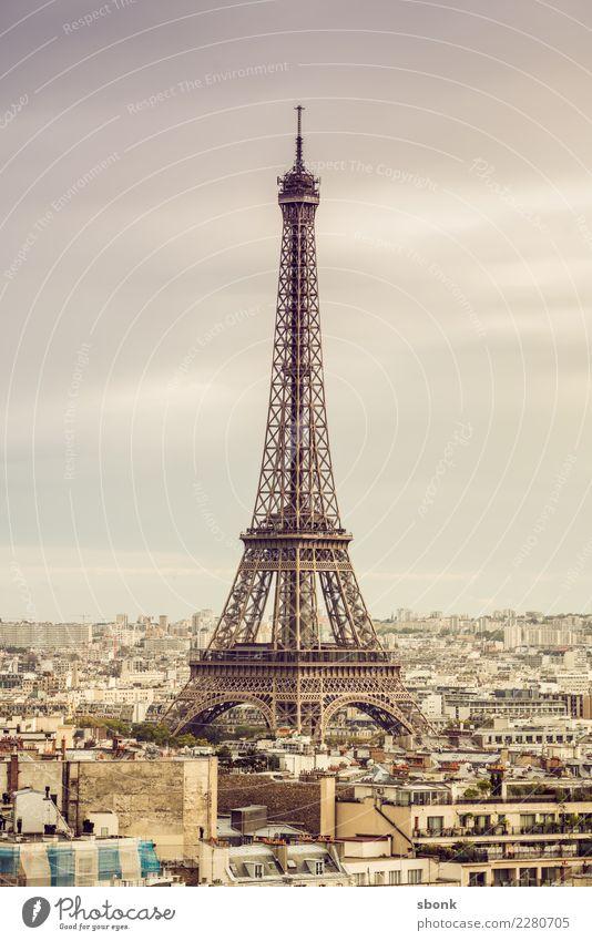 Paris Eiffelturm Stadt Sehenswürdigkeit Wahrzeichen Denkmal Tour d'Eiffel Ferien & Urlaub & Reisen Frankreich Farbfoto Außenaufnahme