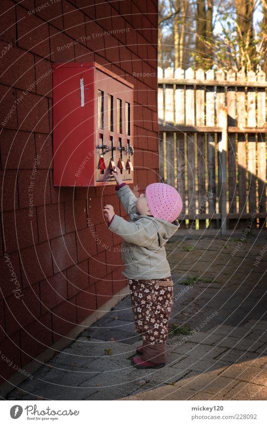 Erstkontakt mit Kaugummiautomat Mensch Mädchen Freude Herbst Wand Spielen Mauer Kindheit lernen niedlich Neugier berühren Kleinkind Hose Mütze entdecken