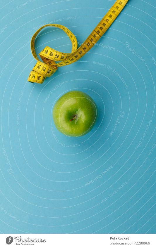 #AS# Fitness V Sport-Training Diät Apfel Maßband grün gelb messen Vitamin Ernährung Essen blau Vorsätze dick dünn schön Frucht Gewicht Farbfoto Innenaufnahme