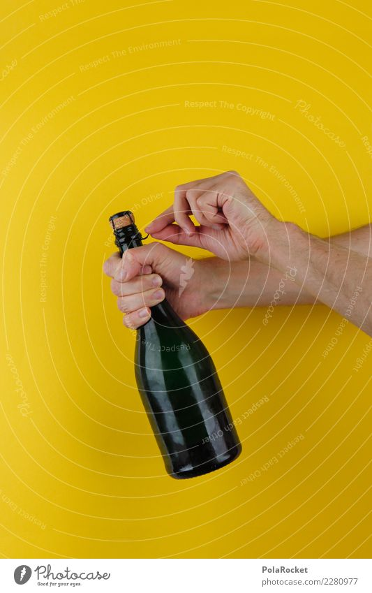 #AS# Alkohoool! Hand gelb Kunst Feste & Feiern ästhetisch Erfolg aufmachen Sekt Champagner Knall Gratulation Korken Korkenzieher-Weide Sektflasche