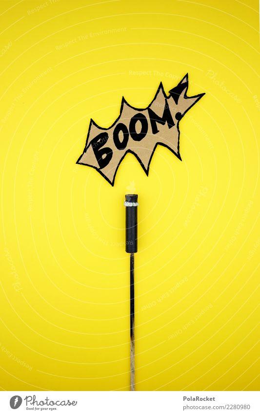 #AS# BOOM! Kunst Design Hochkonjunktur Explosion Silvester u. Neujahr Rakete Feuerwerk Raketenstart 2018 Comic gelb Knall laut verrückt Jugendliche