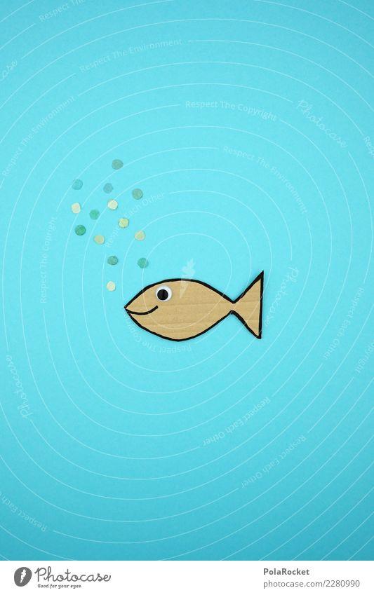 #AS# Fisch Kunst einzigartig blasen Konfetti blau Fischauge Karton Basteln Meer Fluss Angeln genießen Klimawandel bedrohlich Glück Tier tierisch Kreativität