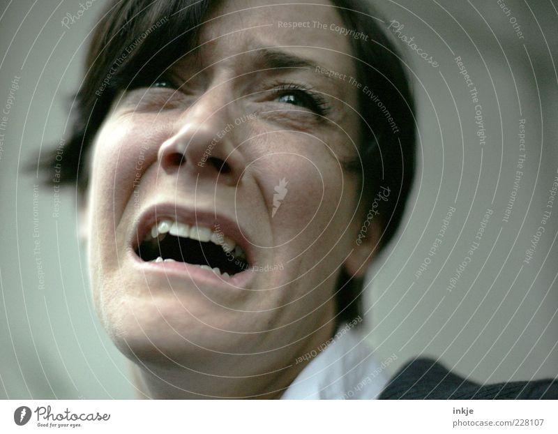 ausTrauerwirdWutwirdHilflosigkeit... Frau Gesicht Erwachsene Leben Gefühle Traurigkeit Stimmung braun Angst authentisch Schmerz schreien Konflikt & Streit