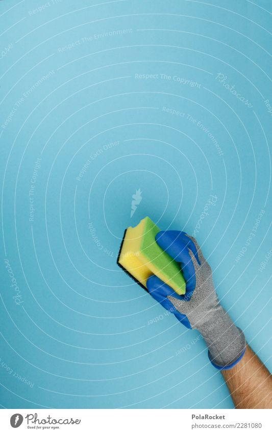 #AS# Saubermann Kunst ästhetisch Sauberkeit Reinigen Reinigungsmittel Gebäudereiniger blau Schwamm Handschuhe clean graphisch Farbfoto mehrfarbig Innenaufnahme