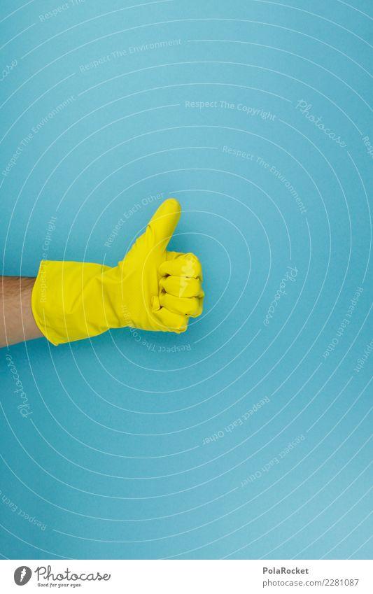 #AS# sauber! Kunst ästhetisch Sauberkeit Saubermann Reinigen Frühjahrsputz gelb knallig positiv laufen Hand Handschuhe Raumpfleger Beruf Gebäudereiniger blau