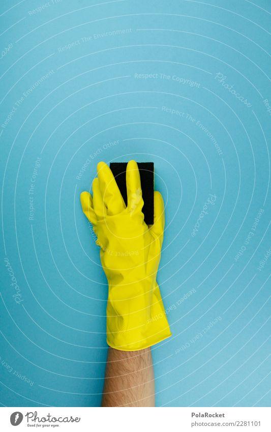 #AS# Putz-Spleen Kunst ästhetisch Handschuhe Reinigen Raumpfleger Sauberkeit Saubermann clean blau gelb Körperpflege Schwamm spleen Tick Farbfoto mehrfarbig