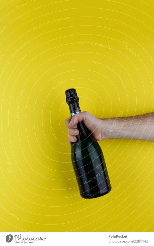 #AS# Alkohol schwarz-gelb Kunst ästhetisch Alkoholisiert Sekt Sektflasche Champagner Party Feste & Feiern Partystimmung Partyservice Partygast Partynacht