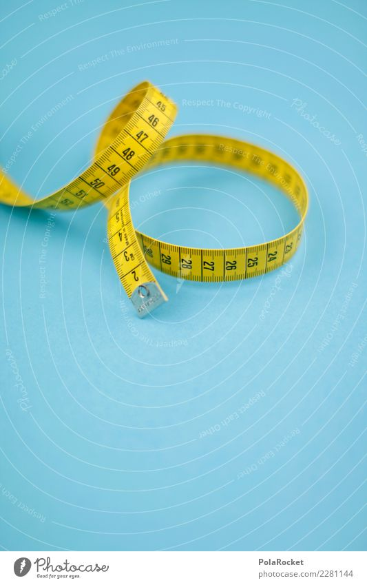 #AS# Teufelskreis Fitness Sport-Training Diät Maßband messen gelb blau Ziffern & Zahlen Ernährung Ziel abmessen rund umwickelt Vorsätze Bewegung Länge Größe