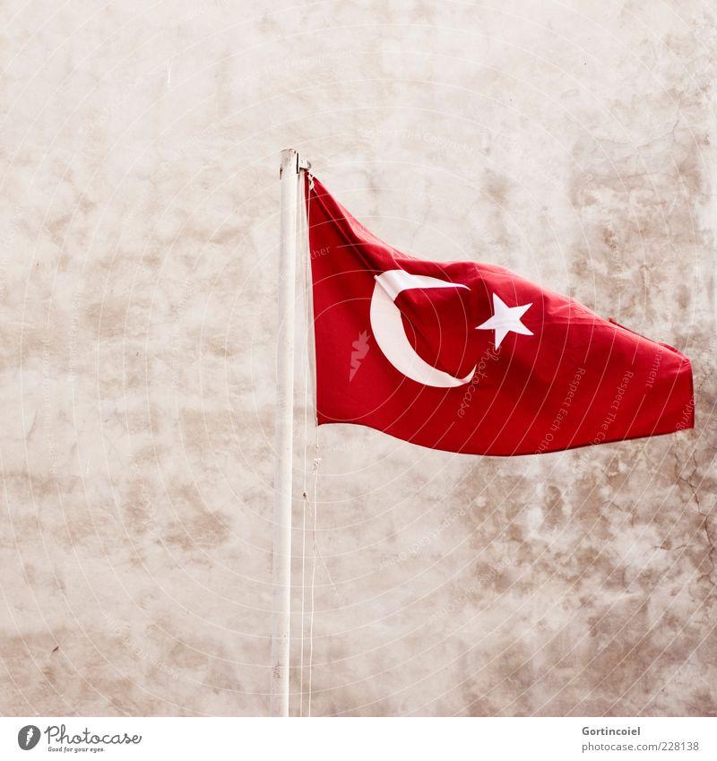 Feiertag der Republik Zeichen rot Türkei Fahne Fahnenmast Laizismus Hintergrund neutral Menschenleer Symbole & Metaphern Nationalflagge Nationalfeiertag