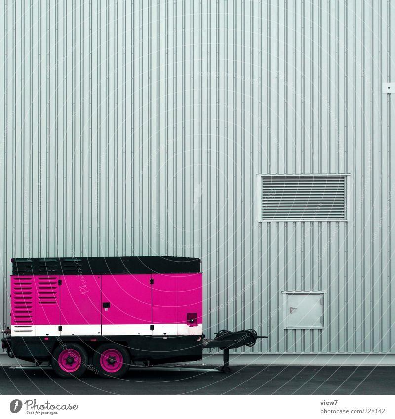 komp :: Haus Straße Wand Mauer Metall Linie elegant rosa Fassade Ordnung Energie modern frisch Verkehr ästhetisch