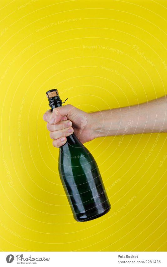 #AS# Vorfreude Hand gelb Lifestyle Feste & Feiern Party Geburtstag Beginn Geschenk trinken Überraschung Silvester u. Neujahr Reichtum Flasche Sekt Neuanfang