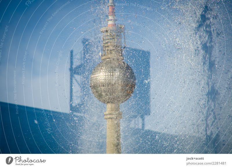 Außenwerbung am Strausberger Platz Sightseeing Architektur Berlin-Mitte Stadtzentrum Sehenswürdigkeit Wahrzeichen Berliner Fernsehturm Werbeschild