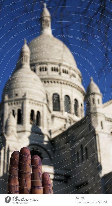 Familienausflug Ferien & Urlaub & Reisen Architektur lustig Tourismus Finger außergewöhnlich Kirche Europa Bauwerk Paris Wahrzeichen Frankreich Hauptstadt