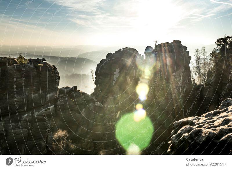 Felsige Landschaft, Sonnenlicht durchflutet Natur Himmel Horizont Winter Baum Kiefer Fichte Felsen Berge u. Gebirge beobachten wandern ästhetisch