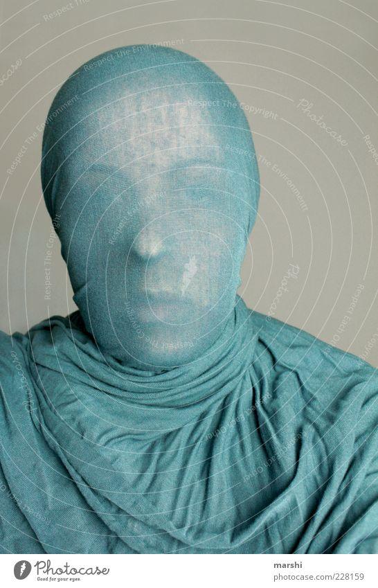 blueman Mensch blau Gesicht feminin Kopf Stil maskulin Bekleidung Falte anonym Tuch unsichtbar Kopftuch Faltenwurf verhüllen
