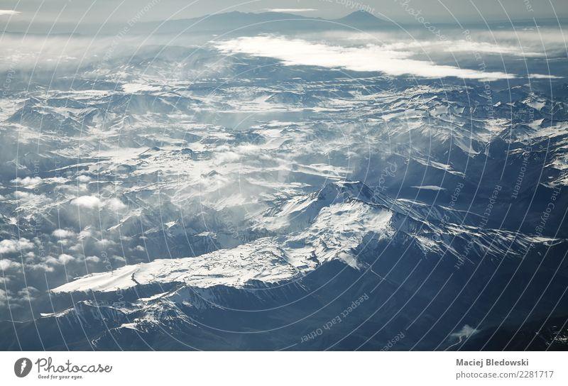 Luftbild des Anden-Gebirgszugs, Chile. Himmel Natur Ferien & Urlaub & Reisen schön Landschaft Wolken Berge u. Gebirge Umwelt Schnee oben wandern Wetter