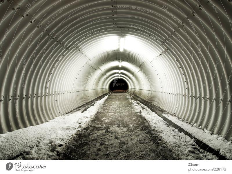 to the other side Winter Schnee Tunnel ästhetisch dunkel Unendlichkeit kalt modern rund puristisch Spuren Gang Außenaufnahme Abend Nacht Kontrast