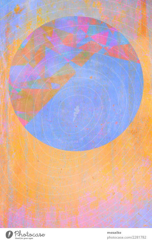 Kreisrund 10 blau Farbe Stil Kunst orange rosa Design Zufriedenheit Linie elegant ästhetisch Kreativität Kultur Perspektive Idee