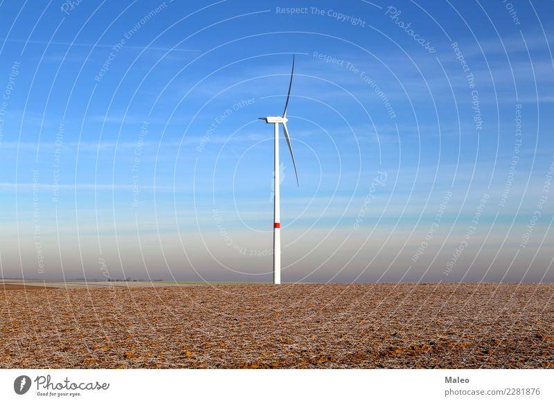 Einsame Windkraftanlage Himmel blau Einsamkeit Umwelt Feld Energiewirtschaft Technik & Technologie Elektrizität Industrie Turm Macht deutlich ökologisch