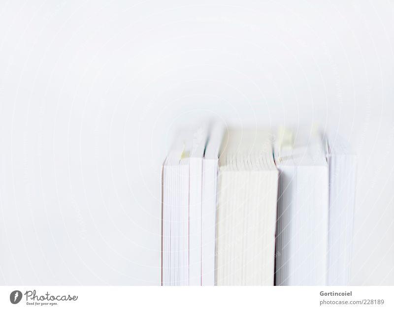 Ich weiß. weiß hell Buch Studium Bildung Wissenschaften Wissen Buchseite Literatur minimalistisch Lesestoff Medien Freisteller Textfreiraum links