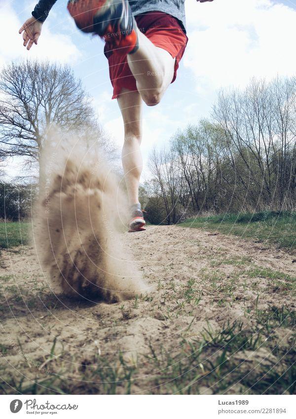 Trailrunning Mensch Jugendliche Mann Sommer Junger Mann 18-30 Jahre Erwachsene Sport Bewegung Sand maskulin Kraft Erfolg Abenteuer laufen Geschwindigkeit