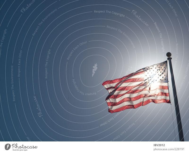 Amerika entdeckt die Sonne Himmel blau Freiheit Lifestyle USA Fahne Schönes Wetter Stars and Stripes wehen Fahnenmast Blauer Himmel Kalifornien durchleuchtet