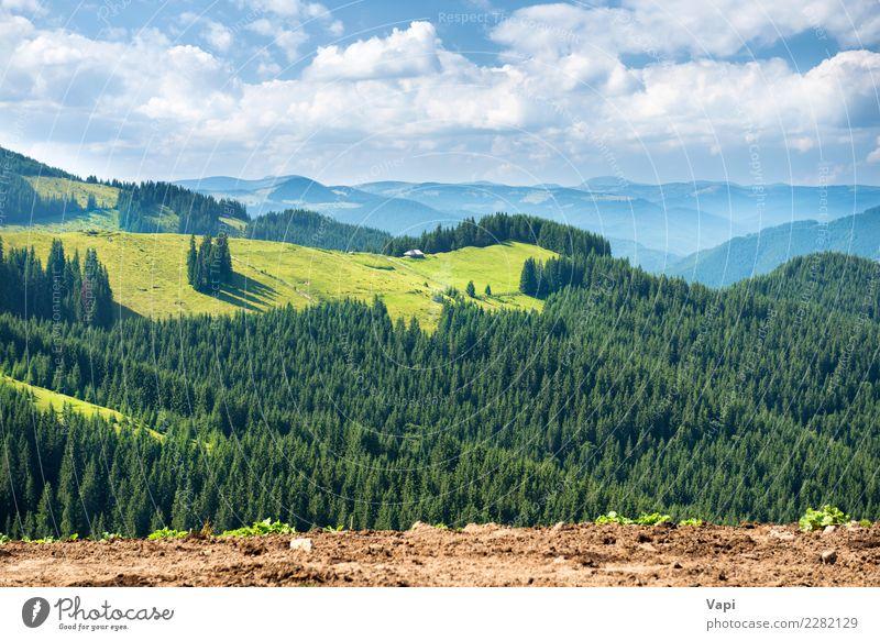Grünes sonniges Tal in den Bergen und in den Hügeln Himmel Natur Ferien & Urlaub & Reisen Pflanze blau Sommer grün weiß Landschaft Sonne Baum Wolken Ferne Wald