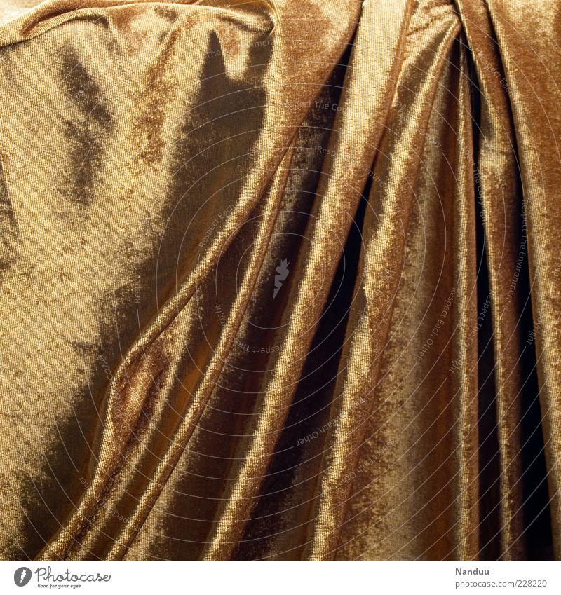 Vorhang auf glänzend Hintergrundbild gold weich Decke edel Stoff Faltenwurf Samt Strukturen & Formen samtig