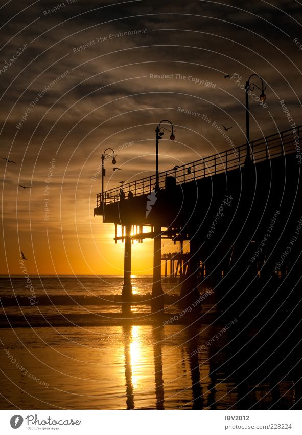 California Dreamin' Ferien & Urlaub & Reisen Tourismus Ferne Freiheit Sonne Strand Meer Wellen Wasser Himmel Wolken Küste Romantik Pause Steg Santa Monica