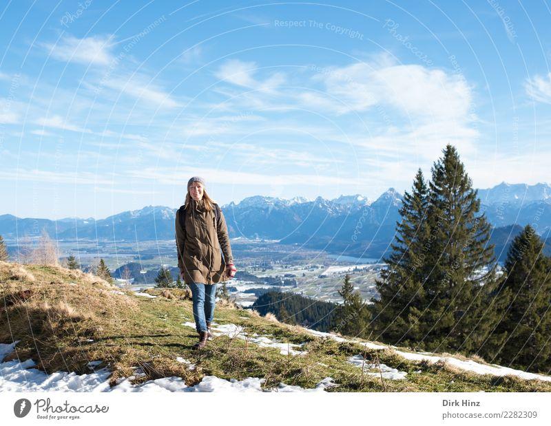 Kappeler Alp / Nesselwang (Bayern) Frau Mensch Natur Ferien & Urlaub & Reisen Freude Winter Ferne Berge u. Gebirge Erwachsene Schnee feminin Glück Tourismus