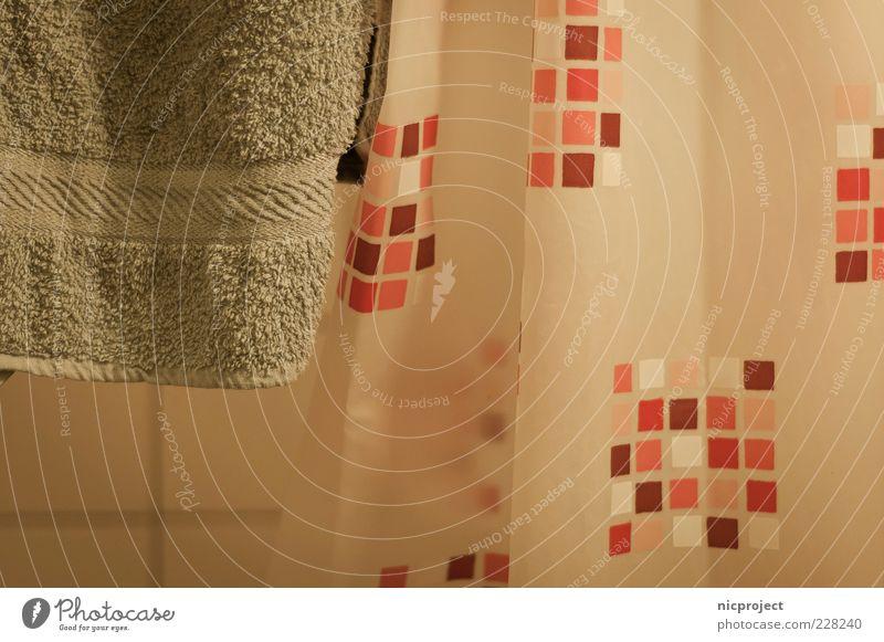 cubic shower Bad Farbfoto Muster Schwache Tiefenschärfe Duschvorhang Handtuch hängend Fliesen u. Kacheln hellgrün Menschenleer Alltagsfotografie Innenaufnahme